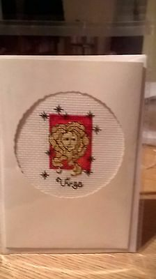 Completed cross stitch Card Virgo