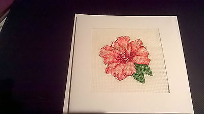 Large Completed cross stitch Card  Flower (17)