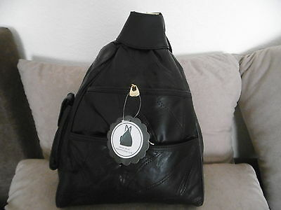 New Ladies Rucksack Backpack  Soft Patchwork Leather Light Weight Travel Black