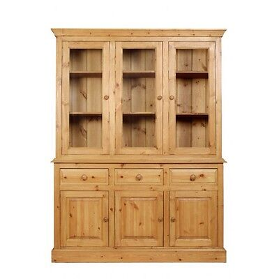 Solid Pine 3 Door Chiffonier Glazed Dresser with Leaded Glass