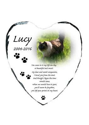 Pet Cat Photo Memorial Heart Slate Personalised Plaque Beautiful Poem