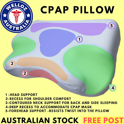 CPAP PILLOW - Contoured Memory Foam CPAP Pillow Reduces Pressure and Mask Leak