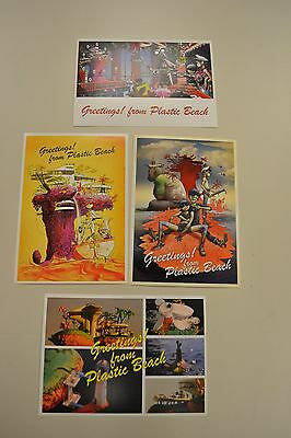 Gorillaz SET OF FOUR PLASTIC BEACH POSTCARDS Damon Albarn Jamie Hewlett Blur