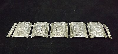 Vintage Peruvian Silver Link Bracelet - raised carved inca gods, 42 grams signed