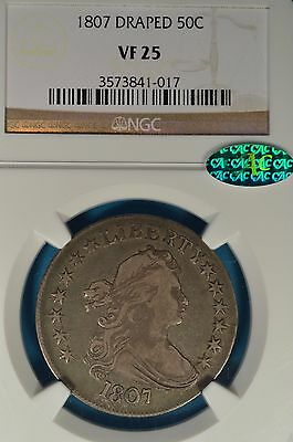 1807 Draped Bust Half Dollar NGC VF25- Nice Looking CAC Endorsed Example