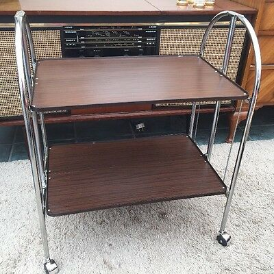 Vintage Retro Art Deco Style Chrome Folding Serving Drinks Cocktail Trolley