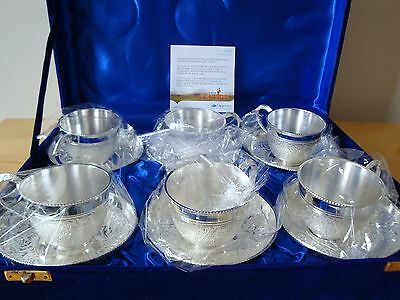 6x Silver Plated Brass Teacups. n/m condition