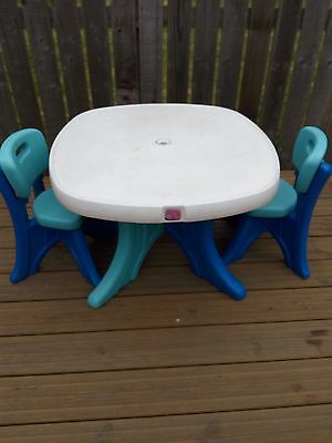Kids - Toddlers Step 2 Table and 2 Chairs and Parasol.