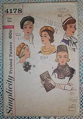 SIMPLICITY Vintage 1960s Sewing Pattern #4178 Hats Millinery Pillbox Beret & Bag