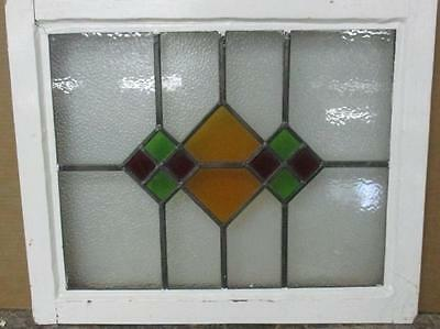 """OLD ENGLISH LEADED STAINED GLASS WINDOW Pretty Abstract Geometric 21.5"""" x 18"""""""