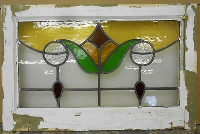 """MID SIZED OLD ENGLISH LEADED STAINED GLASS WINDOW Floral Droop 24.5"""" x 15.75"""""""