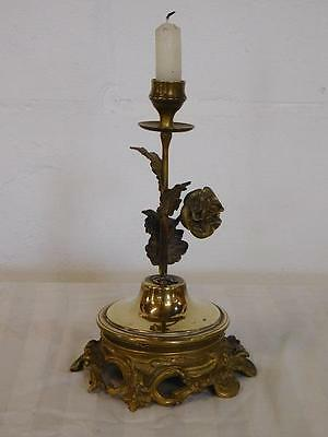 Antique Art Nouveau Brass Floral Candlestick Chamber Stick