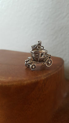 Sterling Silver Moveable Royal Princess Carriage Bracelet Charm Pendant