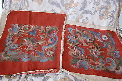 Pair Antique Needlepoint Tapestries for Pillows or Chair Covers Dragon