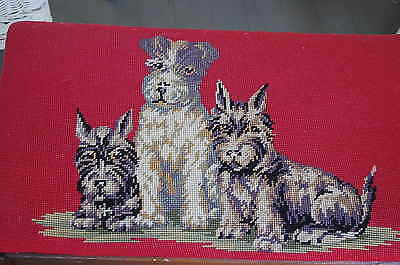 Antique VTG Oak Foot Stool Vanity Ottoman Needlepoint Dogs Terriers Scotty