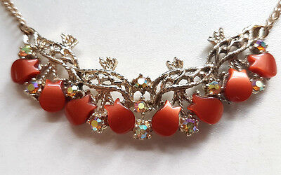 Vintage 1950s 50s Thermoset Tulip AB Crystal Necklace
