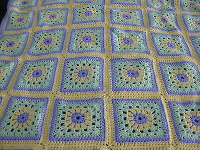 "Newly Finished Crochet Baby Blanket Soft  40"" By 40"" Easter Colors"