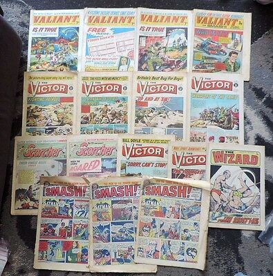 16 x Boys Comics 1960's/70's Smash, Wizard, Victor, Scorcher, Valiant