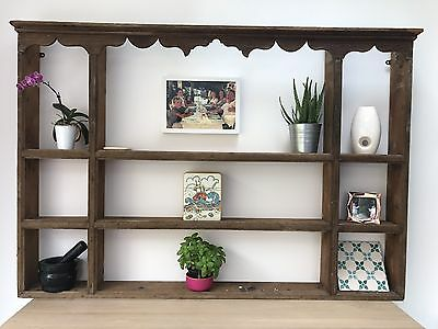 Georgian Pine Plate Rack / Kitchen Shelves / Antique Wall Dresser