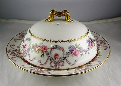Limoges French Porcelain Delinieres & Co Muffineer Butter Dish - Floral w/Gold
