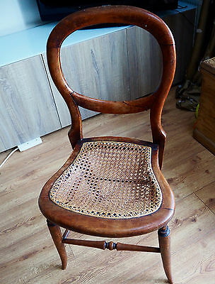 Victorian balloon back chair with wicker seat