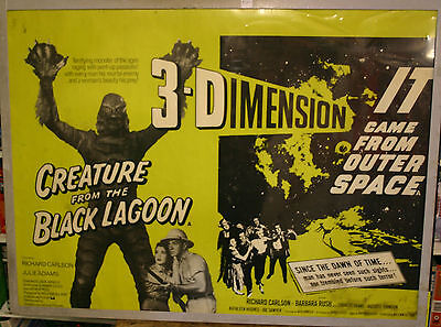 THE CREATURE FROM THE BLACK LAGOON Original UK quad 1980's Double Bill 3D poster