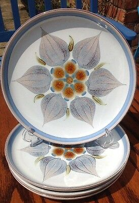 """Denby Vintage Chatsworth Floral Dinner Plates X 4 Quirky Retro 8.5"""""""