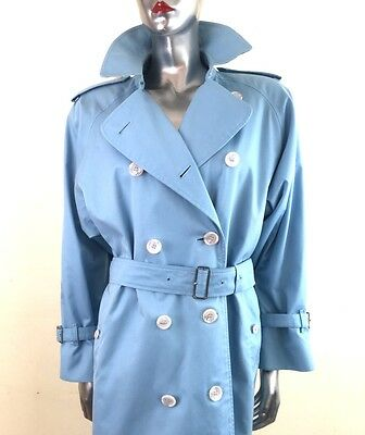 Rare Vintage Burberry Women's Trench Coat Mac Powder Blue 1990's ~ Size 10 Long