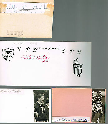 Autographes  Americains - Jeux Olympiques -Mills R-Mills W-Miller-Mickelson-