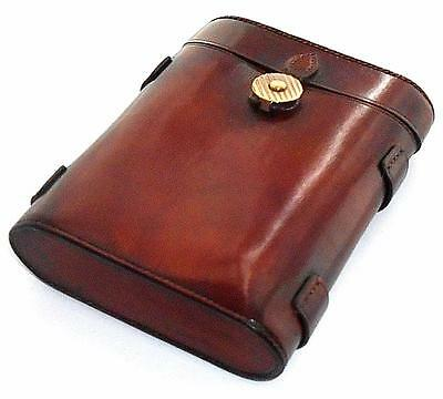 ANTIQUE LEATHER CIGAR CASE WITH HINGED LID & CLASP c.1880