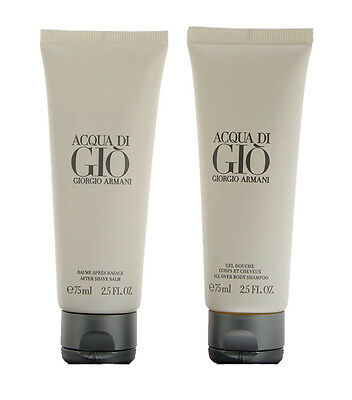 2pz ACQUA DI GIO' GIORGIO ARMANI after shave balm 75ml + body shampoo 75ml NUOVI