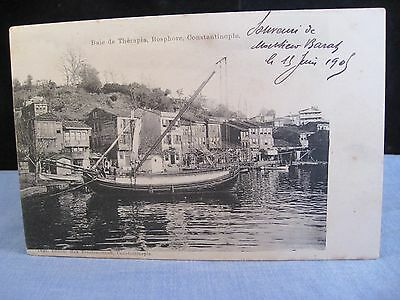 Old Photograph Postcard Turkey Turkish Constantinople Baie De Therapia Bosphore