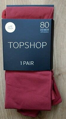 New-Topshop-Luxe touch Tights-size-L-80 denier- colour:Brick