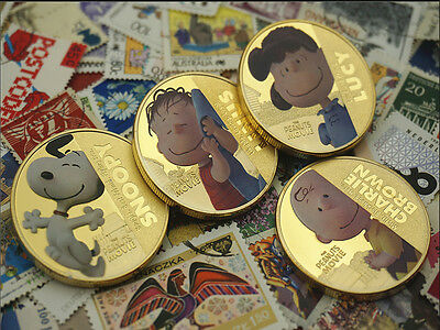 4pcs Snoopy Snoopy series of commemorative coins  coins peanut Movie Niue gift