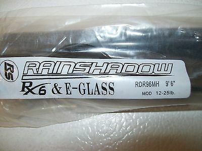 "Rainshadow  RX6+ E-GLASS RDR96MH 9'6"" 2 pc. 12-25 lb. salmon/steelhead blank"