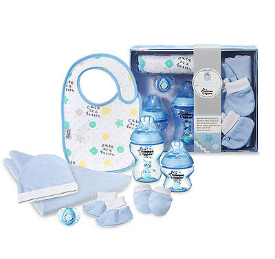 Tommee Tippee Gift Set Bottle Bib Soother Baby Boy Newborn  Shower Party Present