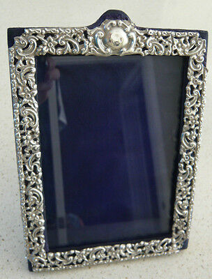 Antique Distressed Solid Silver Easelback Photograph Frame Syner & Beddoes 1903