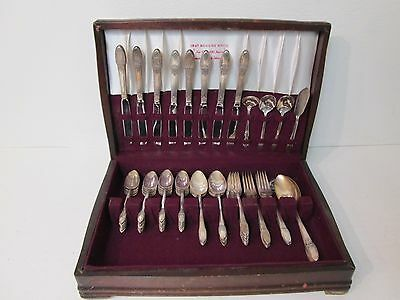 1847 Rogers First Love Silverplate Flatware 64 pc International Silver Antique