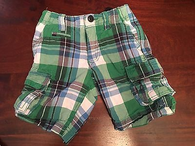 Baby Gap Boys Shorts 4 Large Plaid Navy Blue Green EUC Cargo Pockets 4T