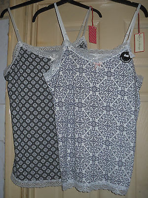 2 x Ladies LOVE TO LOUNGE Lace Trimmed Camisole/Strappy Tops - Size 18/20 - BNWT