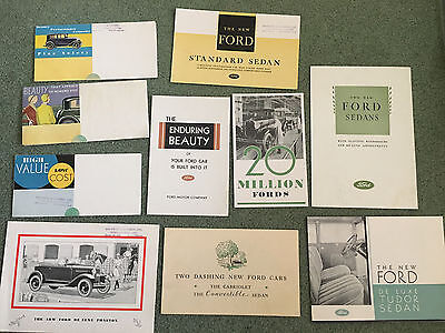 1930s FORD Car Brochures Lot of 10 Model A Cabriolet Deluxe Tudor Phaeton