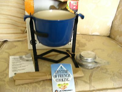 unused boxed Le Creuset cast iron French fondue set blue