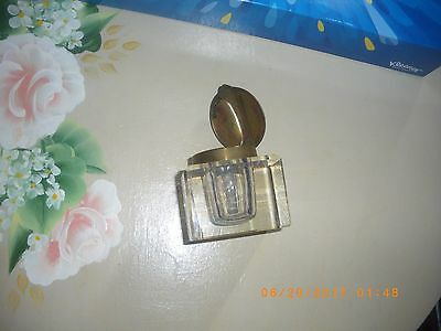 victorian ink well 1800/sterling silver cut glass