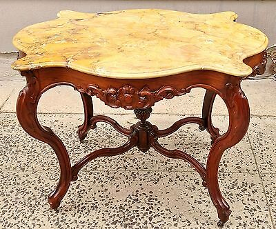 Antique 19th C  AMERICAN Carved ROSEWOOD Sienna Marble TURTLE TOP Center TABLE