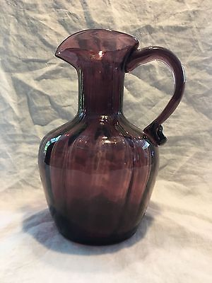 Vintage Amethyst Glass Pitcher/Ewer Marked C B