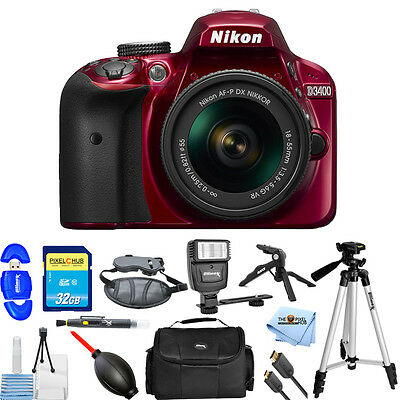 Nikon D3400 DSLR Camera with 18-55mm Lens (Red)!! PRO BUNDLE BRAND NEW!!