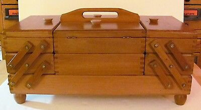 VTG 3-Tier - 10 compartments Wooden Accordion Fold Out Sewing Box Chest Romania