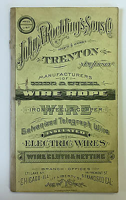 1894 JOHN A ROEBLING'S SONS CO Illustrated WIRE ROPE PRICE LIST BOOK/BRIDGE VF!