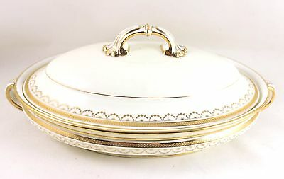 Fab Antique Covered Serving Bowl Minton China G5485 Raised Gold Encrusted Cream