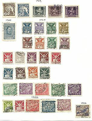 Czechoslovakia Album page of 1919 - 1922 issues - used & hinged mint